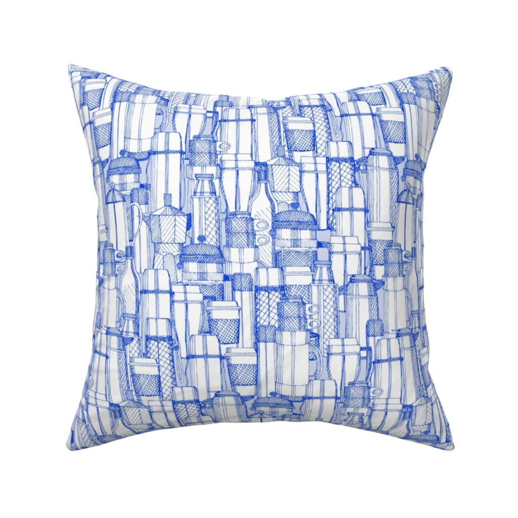Catalan Throw Pillow featuring coffee time blue white by scrummy