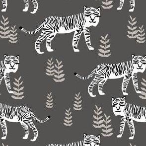 Safari Tiger - Charcoal (smaller) by Andrea Lauren