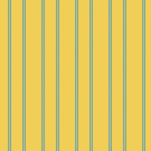 Vintage Easter Turquoise Stripes on Yellow