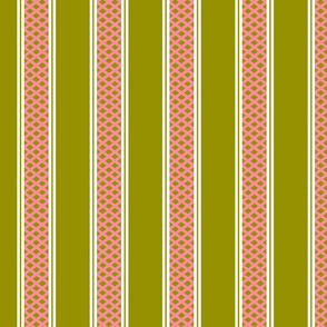 Salmon Pink and Olive Green Lattice Stripes