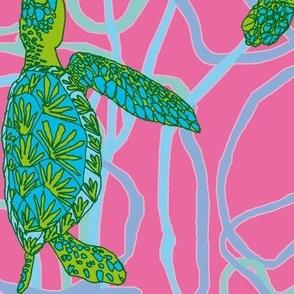 Pink & Green Turtles