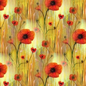 Red Poppy Print Poppies in a Field Fabric