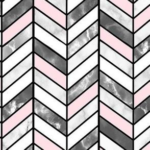 Pink & Grey Marble Herringbone Chevron