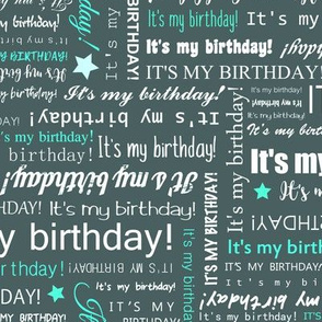 It's my Birthday typography text pattern - Turquoise