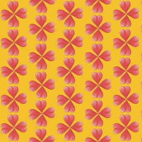 Watercolor Love Heart Flowers on Yellow