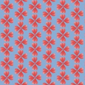 Watercolor Love Heart Flowers on Blue