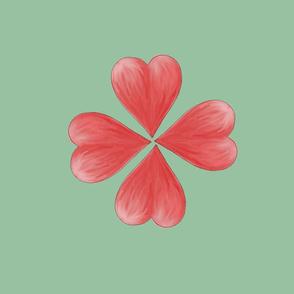 Watercolor Love Heart Flower. Fat quarter print