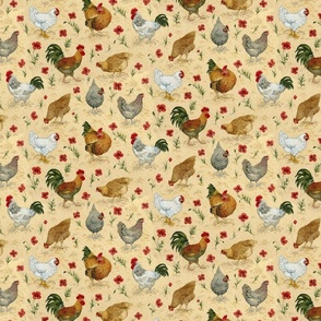Chickens and poppies