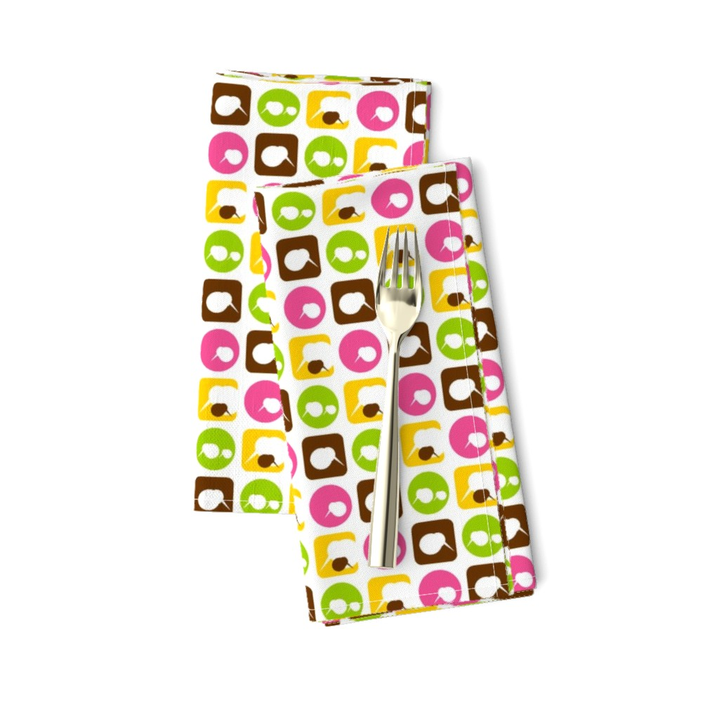 Amarela Dinner Napkins featuring mini kiwi bird parade-pink by clearlytangled