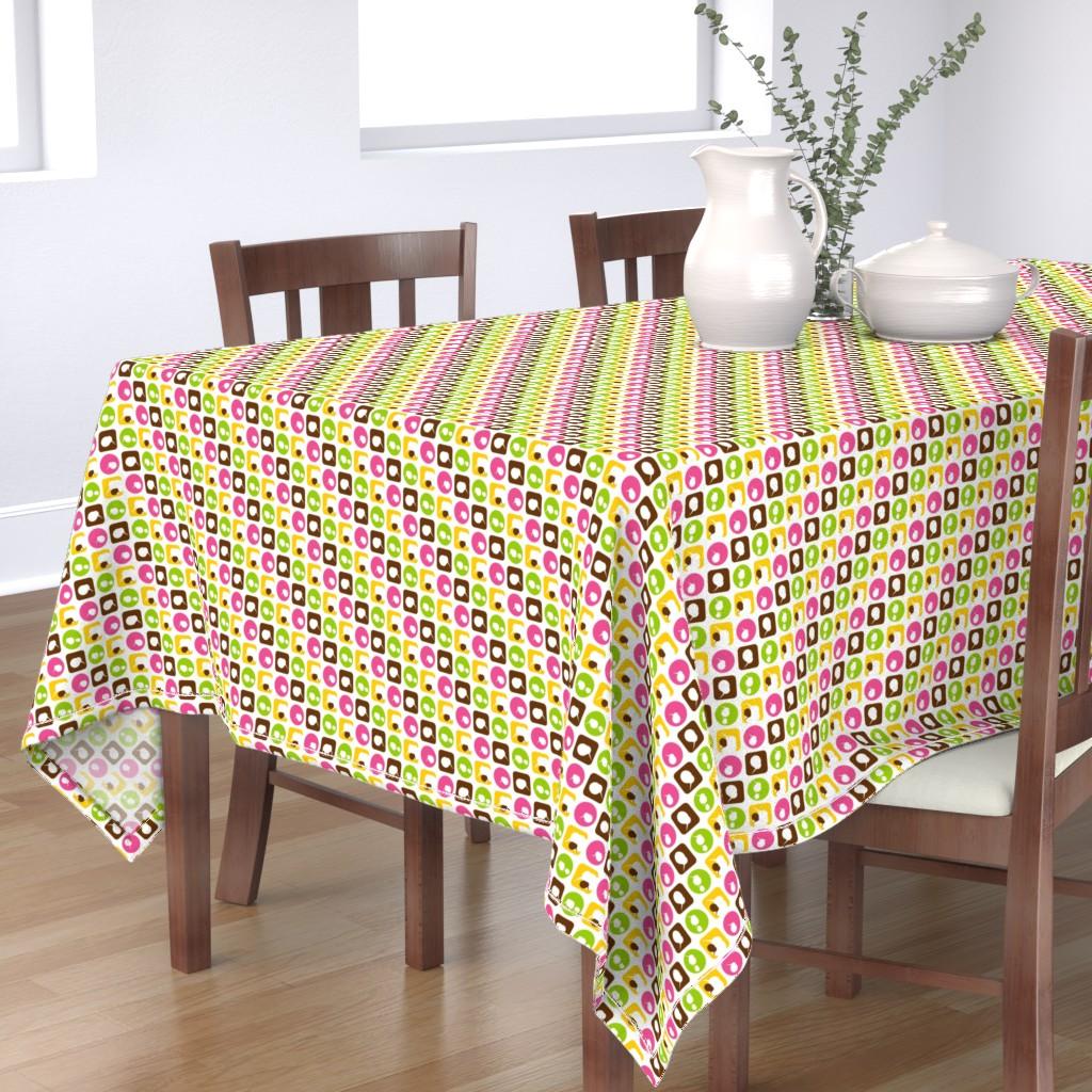 Bantam Rectangular Tablecloth featuring mini kiwi bird parade-pink by clearlytangled