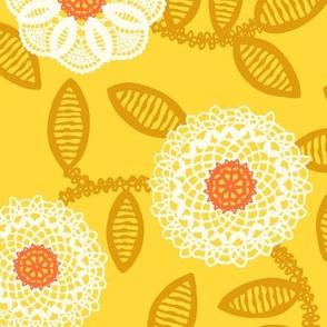 doilies - mustard