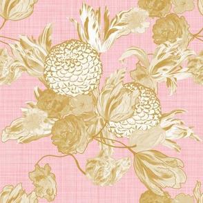 Mid Century Modern Floral ~ Gilt on Dauphine ~ Linen
