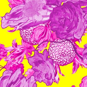 Mid Century Modern Floral ~ Orchid and Fuchsia on La! Yellow