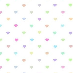 tiny pastel rainbow hearts on white - adorable kawaii heart pattern