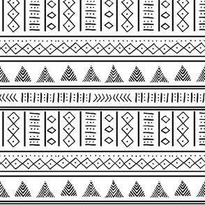 African Tribal Mudcloth Black and White pattern