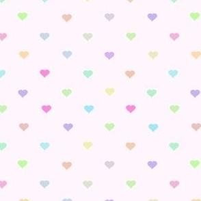 tiny pastel rainbow hearts on pink- adorable kawaii heart pattern