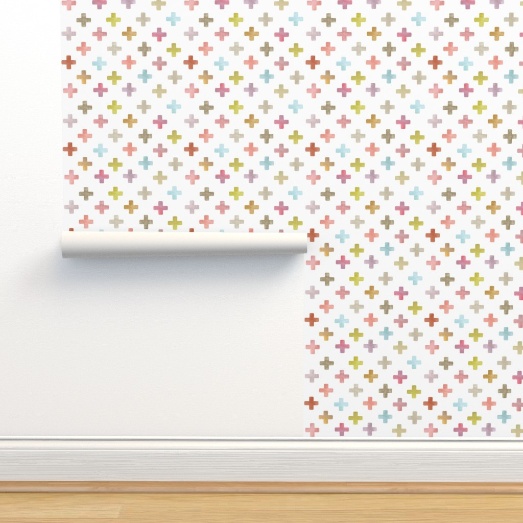 Isobar Durable Wallpaper featuring Swiss Cross / Plus pattern - pastels on white by inspirationz