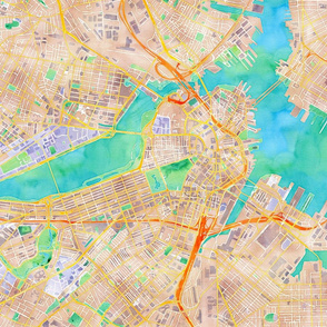 Boston watercolor map fabric