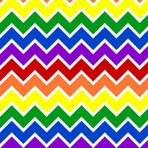 Rainbow Chevrons Large with White