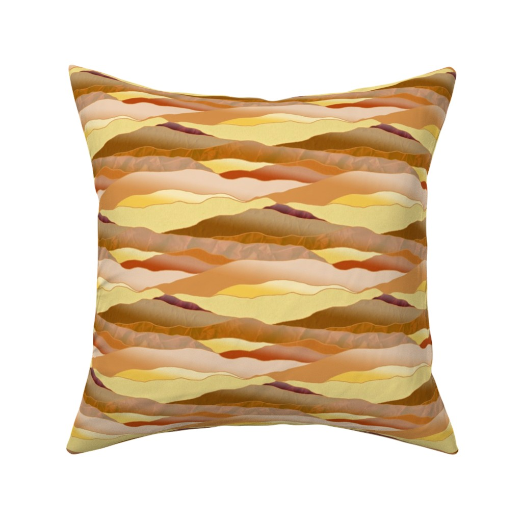 Catalan Throw Pillow featuring After Dawn in the Desert - Leadlight Landscape by rhondadesigns