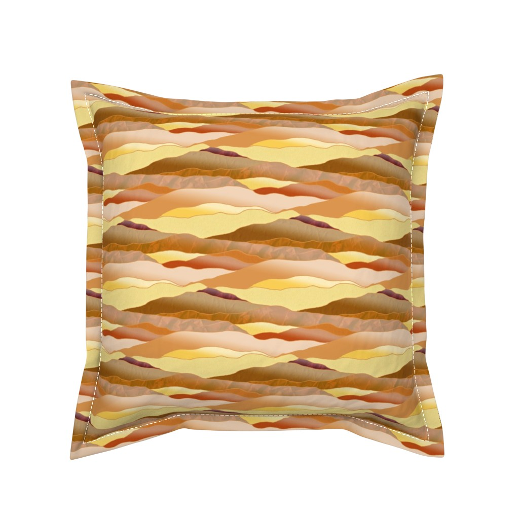 Serama Throw Pillow featuring After Dawn in the Desert - Leadlight Landscape by rhondadesigns