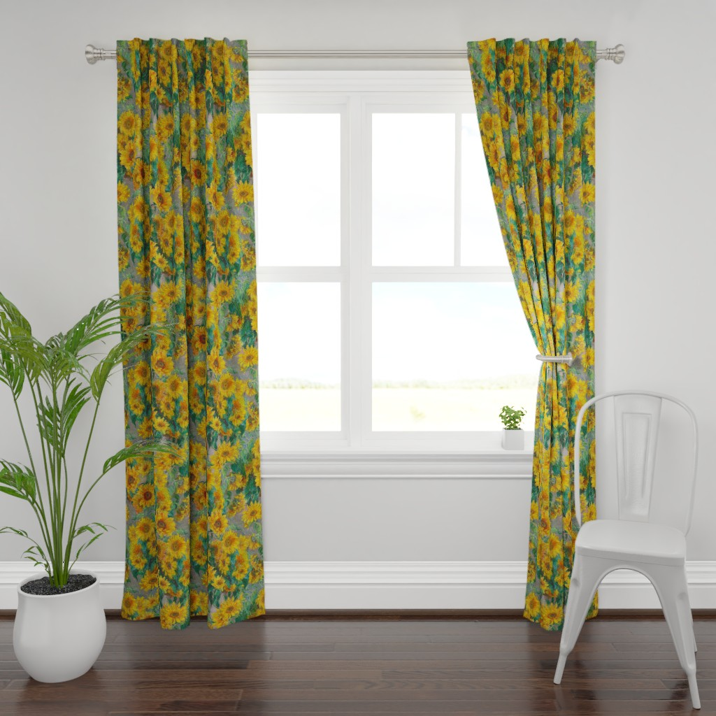 Plymouth Curtain Panel featuring monet's sunflowers (jumbo) by weavingmajor