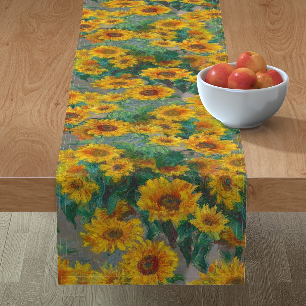 Minorca Table Runner featuring monet's sunflowers (jumbo) by weavingmajor