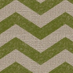 Large Chevron in Moss on Linen