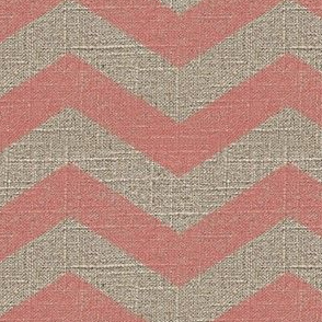 Large Chevron in Pink on Linen