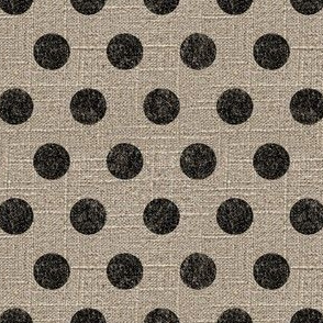 Large Dots in Black on Linen