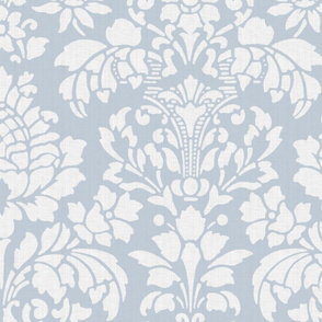 Balmoral Damask ~ Linen Luxe ~ Large Scale ~ White on Versailles Fog