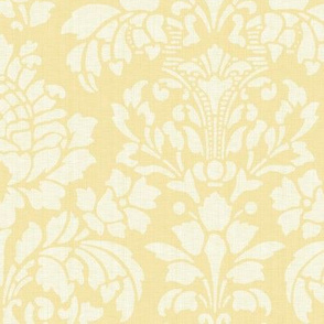 Balmoral Damask ~ Linen Luxe ~ White on Trianon Cream