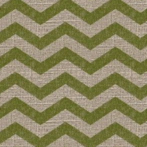 Chevron in Moss on Linen