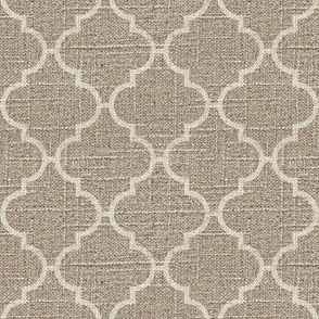 Moroccan Tile in Cream on Linen