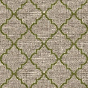 Moroccan Tile in Moss on Linen