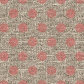 Large Dots in Pink on Linen