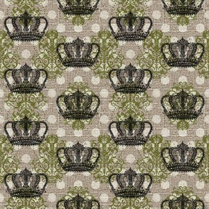 Custom Small Crown Small Damask Small Dot in Moss Green