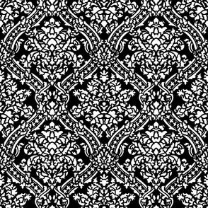 Windsor Damask ~ White and Black