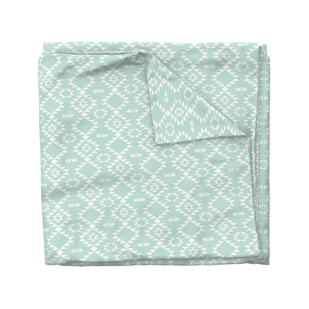 Wyandotte Duvet Cover featuring Navajo - Mint white by kimsa