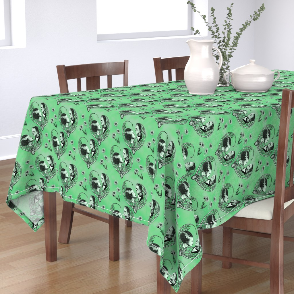 Bantam Rectangular Tablecloth featuring We Were Made For Each Other - Green by jenithea