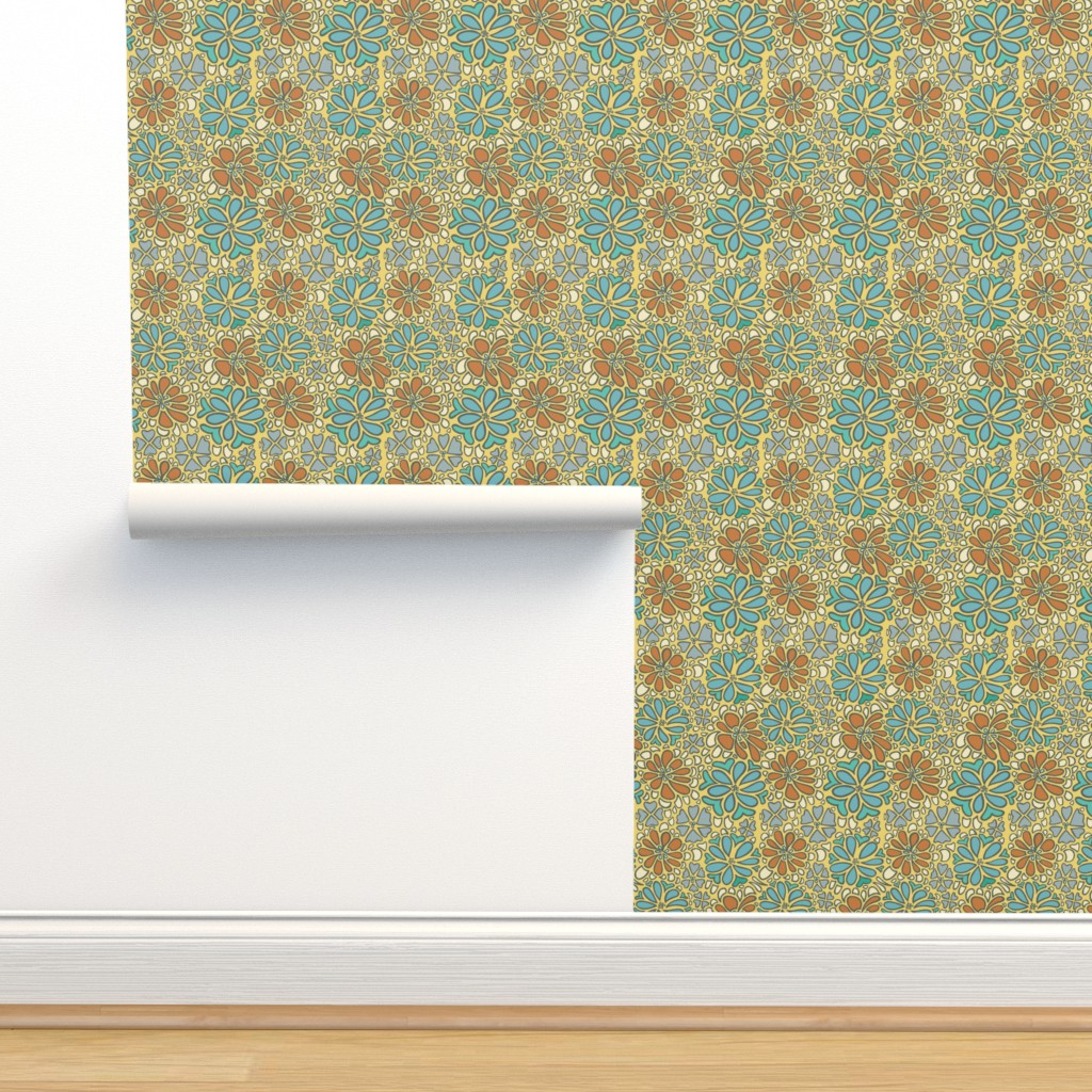 Isobar Durable Wallpaper featuring bursting blossoms in gold by mytinystar