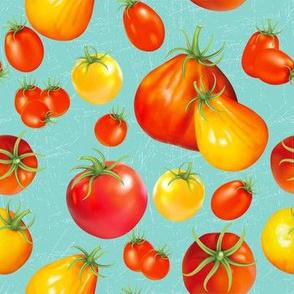 Summer Garden - Heirloom Tomatoes On Blue