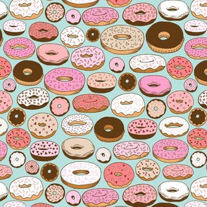 donuts on blue - small scale