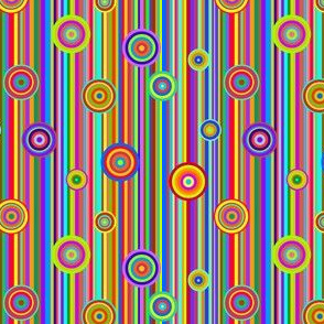 Multicolor Barcode Stripes and Bull's Eye Circles - Bright