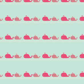Whale Love Pink on Blue