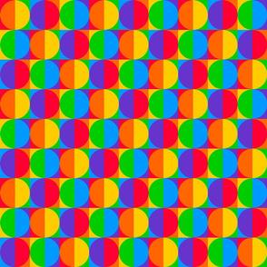 Retro Pride Rainbow Squares and Circles - Halved Optical Illusion