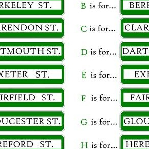 Boston street signs alphabet