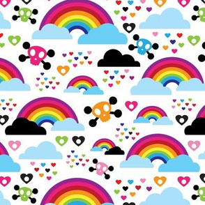 Skull hippie colorful rainbow dreams and clouds