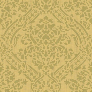 Windsor Damask ~ Provence ~ Linen Luxe ~ Bayberry and Rococo Gold