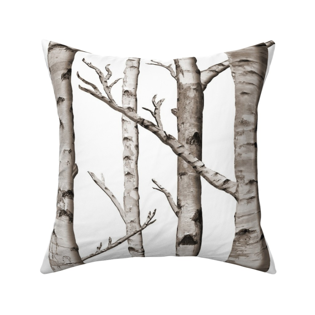 Catalan Throw Pillow featuring Birch Forest in Black and White by willowlanetextiles